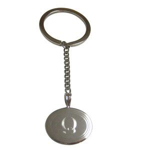 Etched Oval Letter Q Monogram Pendant Keychain